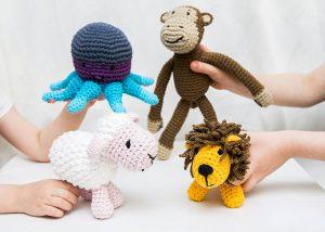 przytulanki maskotki wełniane, małpka, ośmiornica, baranek ilew